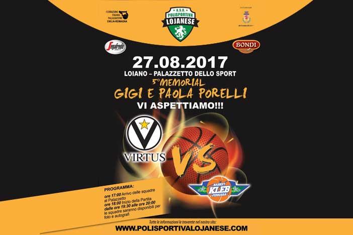 Virtus, Memorial Porelli domenica 27 con Ferrara