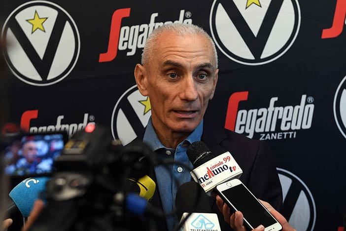 """Virtus, Baraldi: """"Con il 25% <br>della capienza il nostro sport muore"""""""