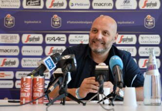 Virtus, coach Djordjevic e Abass <br>post match Universo Treviso