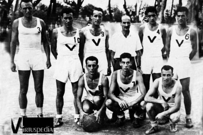 Il Primo scudetto a Viareggio nel 1946: Marinelli, Dondi, Calza, Foschi, Bersani, Vannini