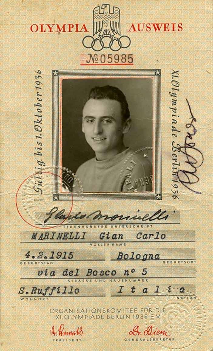 Tessera di Giancarlo Marinelli alle Olimpiadi di Berlino