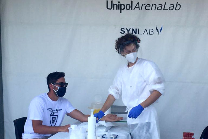 Fortitudo, primi test clinici per giocatori e staff tecnico all'Unipol Arena Lab
